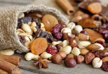 Орехи и сухофрукты — таблица калорийности